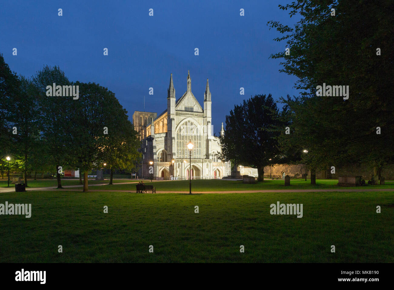 Winchester Cathedral taken during the Blue Hour. Winchester, Hampshire, UK/ - Stock Image
