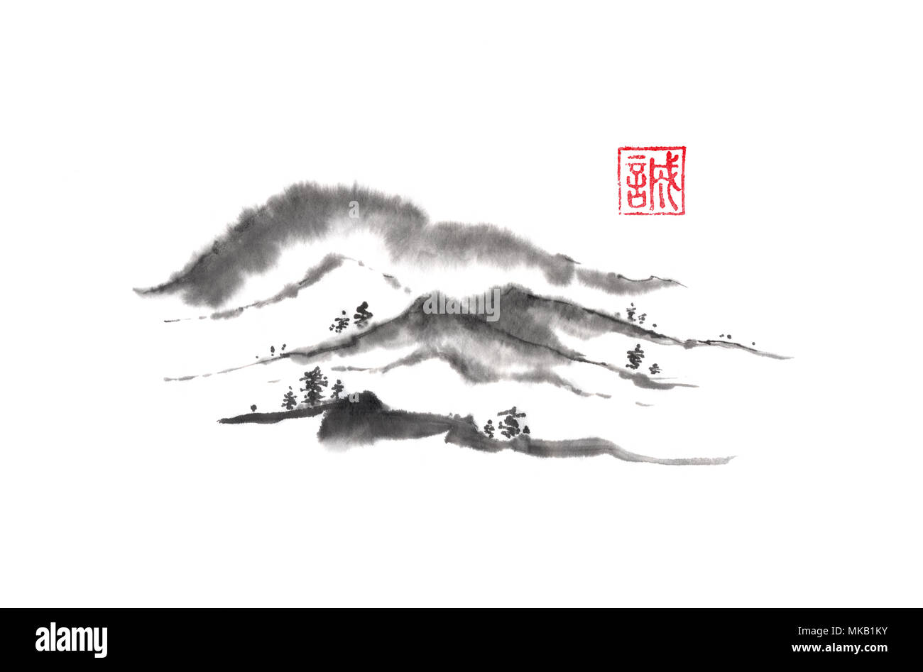 Japanese style sumi-e distant hills ink painting. Hieroglyph featured means sincerity. Great for greeting cards or texture design. - Stock Image