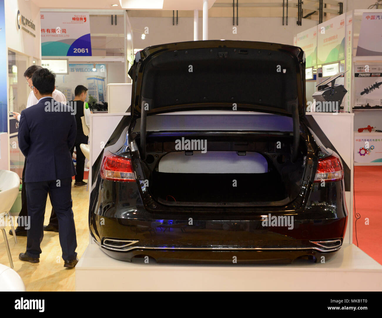 Boot or trunk of a car on show at the Auto China 2018 motor show in Beijing, China - Stock Image