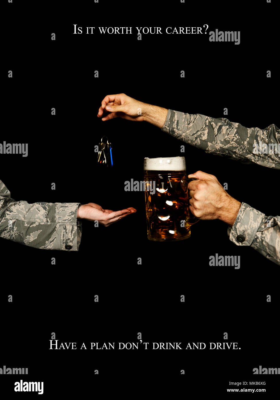 The legal limit for blood alcohol content in Germany is .05 having just one standard 1 liter German beer can put you over the BAC limit. Driving under the influence can have a serious negative impact on your Air Force career. (U.S. Air Force illustration by Staff Sgt. Jonathan Snyder) - Stock Image