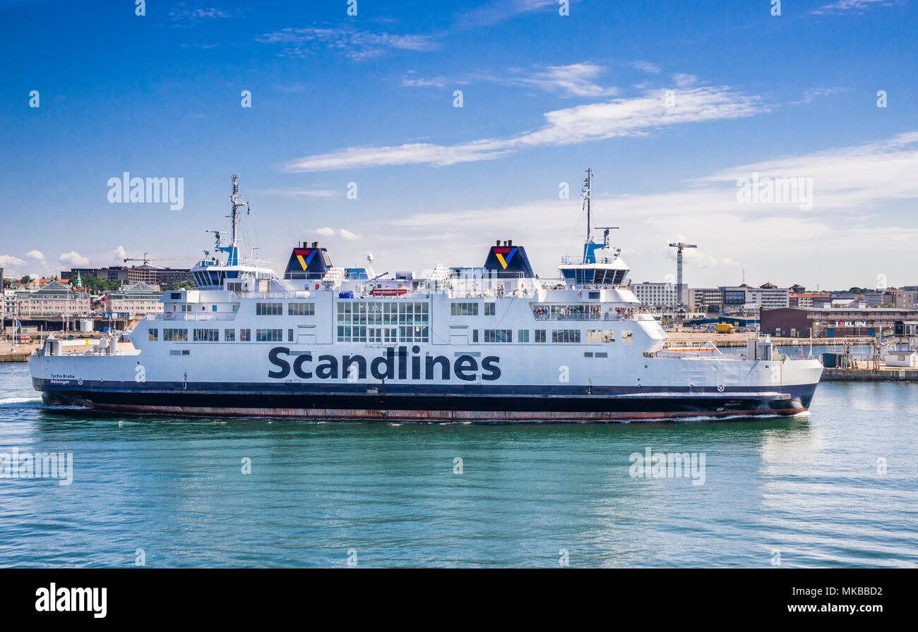 Scandlines Øre Sound ro-ro passenger car ferry 'Tycho Brahe' departing the harbour of the Baltic Sea coastal city of Helsingborg, Scania, Sweden - Stock Image