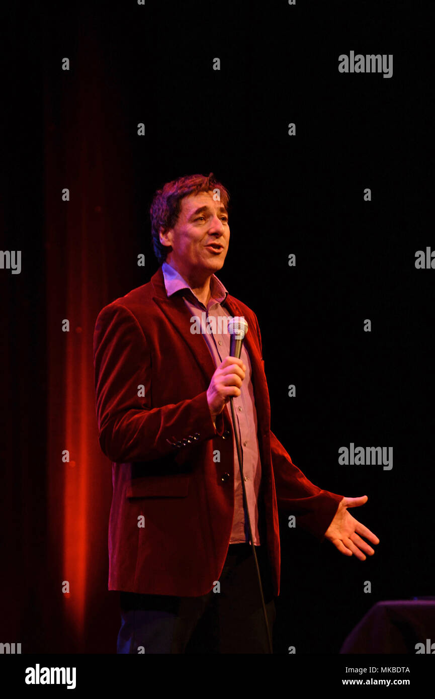 Mark Steel comedian broadcaster and newspaper columnist performs his stand up act at Mareel in Shetland - Stock Image