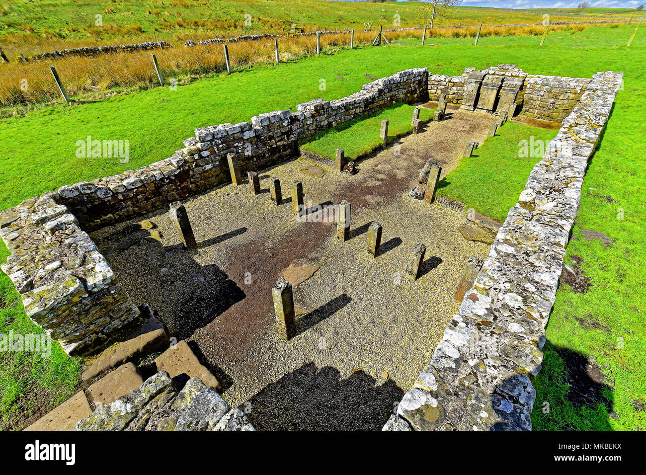 Roman Wall World Heritage Site National Park Brocolitia Mithraeum Roman Temple next to Carrawburgh Fort - Stock Image