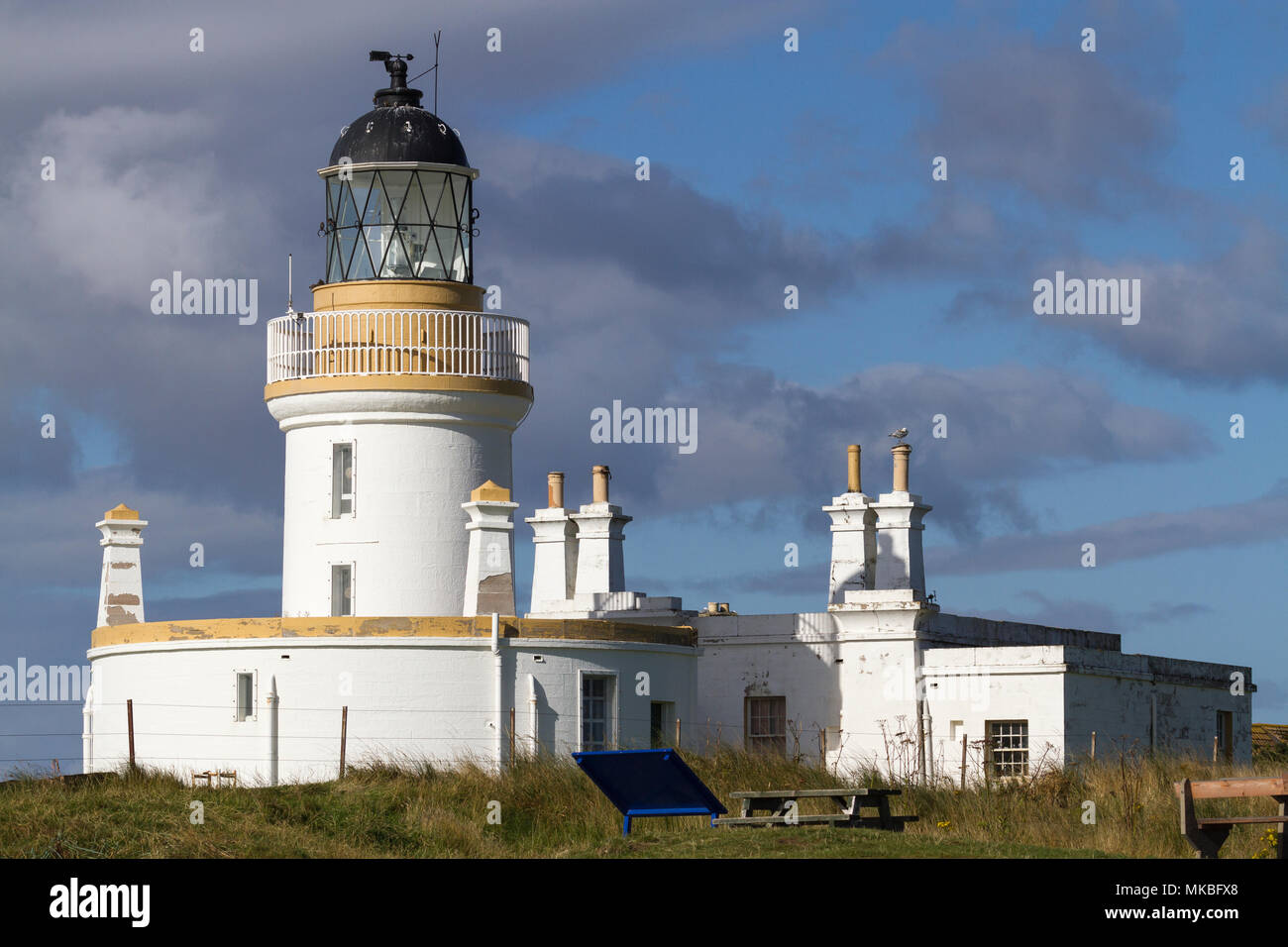 Chanonry Point lighthouse on the  Moray Firth between Fortrose and Rosemarkie, Black Isle, Scotland, UK - Stock Image