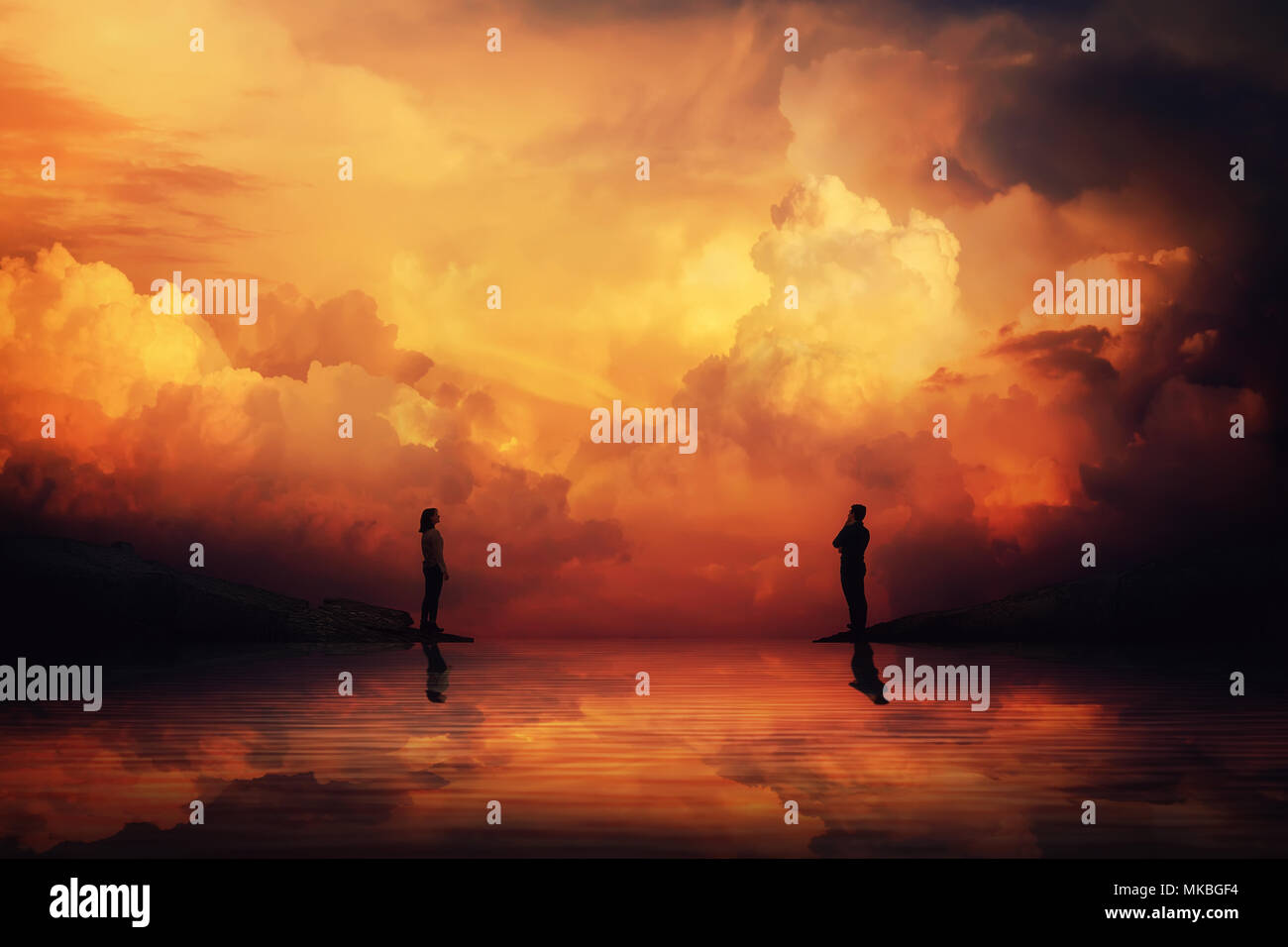 Man and woman stand on different sides of a river bank thinking how to reach each other over a scenery sunset background. Building an imaginary bridge - Stock Image