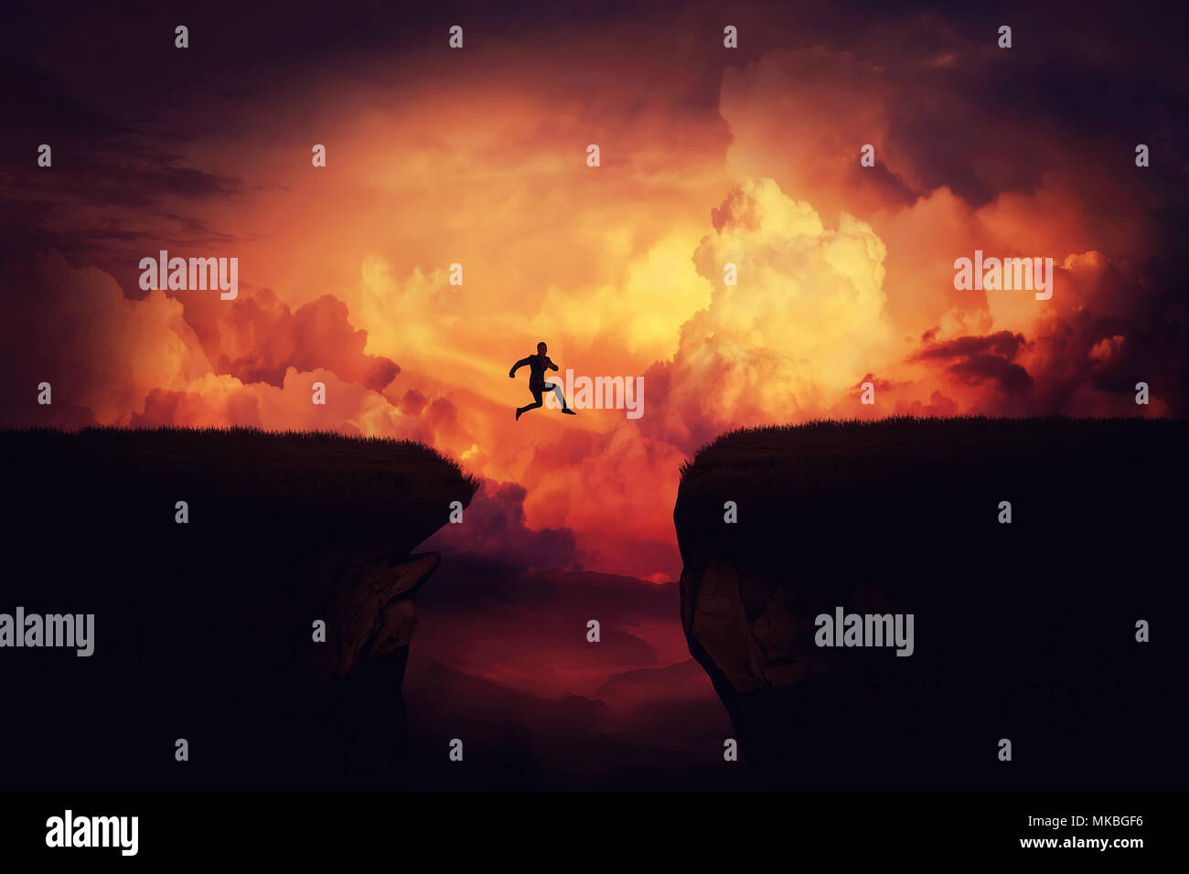 Fantasy self overcome concept as a businessman jump over a chasm obstacle above the clouds. Way to win and succes over sunset background. Achieving go - Stock Image