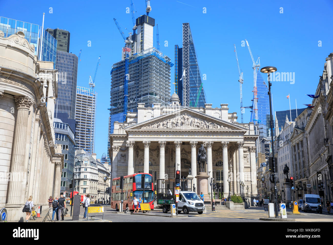 Royal Exchange & The City of London. - Stock Image