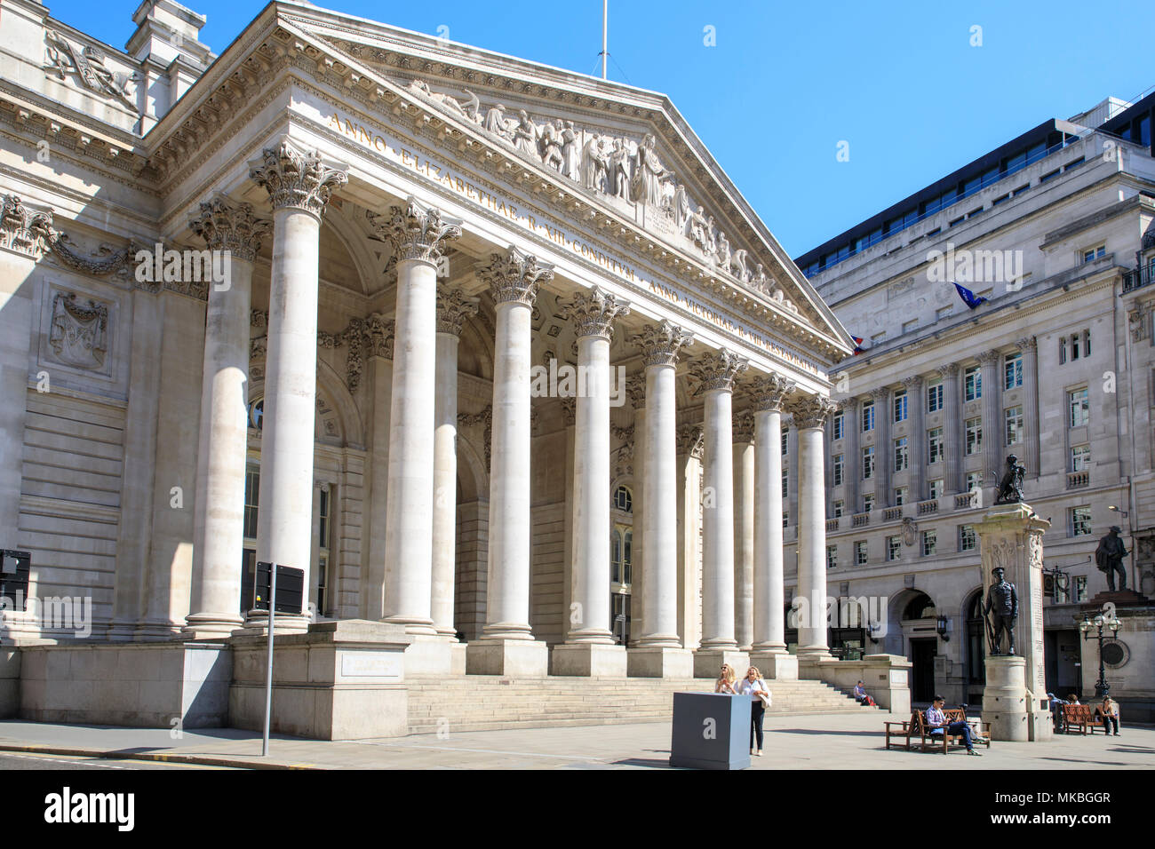 Royal Exchange in the City of London. - Stock Image