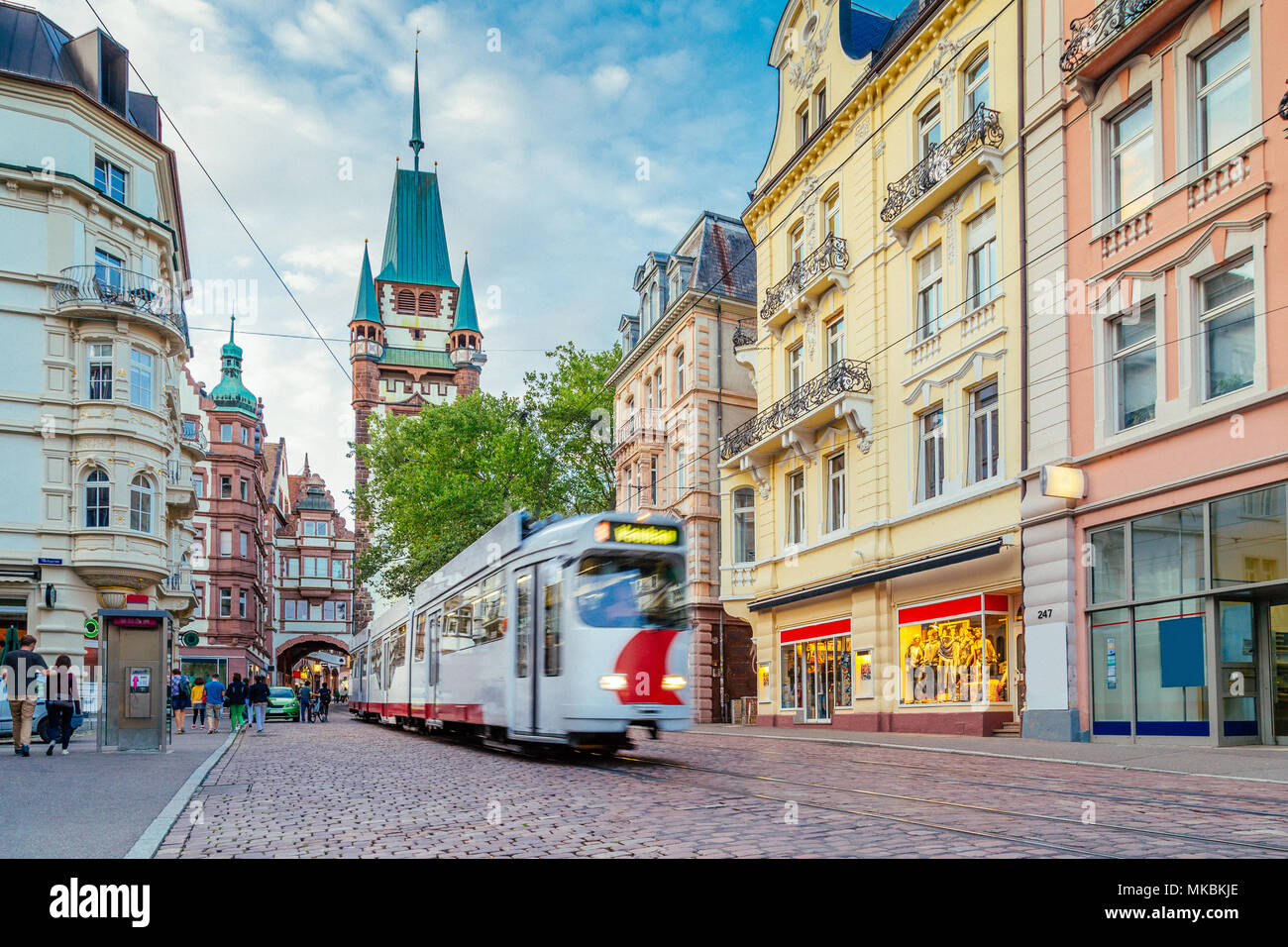 Historic town of Freiburg im Breisgau with famous Freiburg Minster cathedral in beautiful morning light, state of Baden-Wurttemberg, southwest Germany - Stock Image