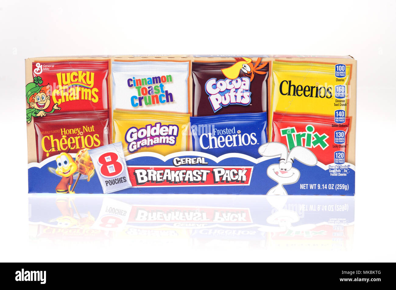 General Mills cereal variety pack of assorted cereals including Lucky Charms, Honey Nut Cheerios - Stock Image