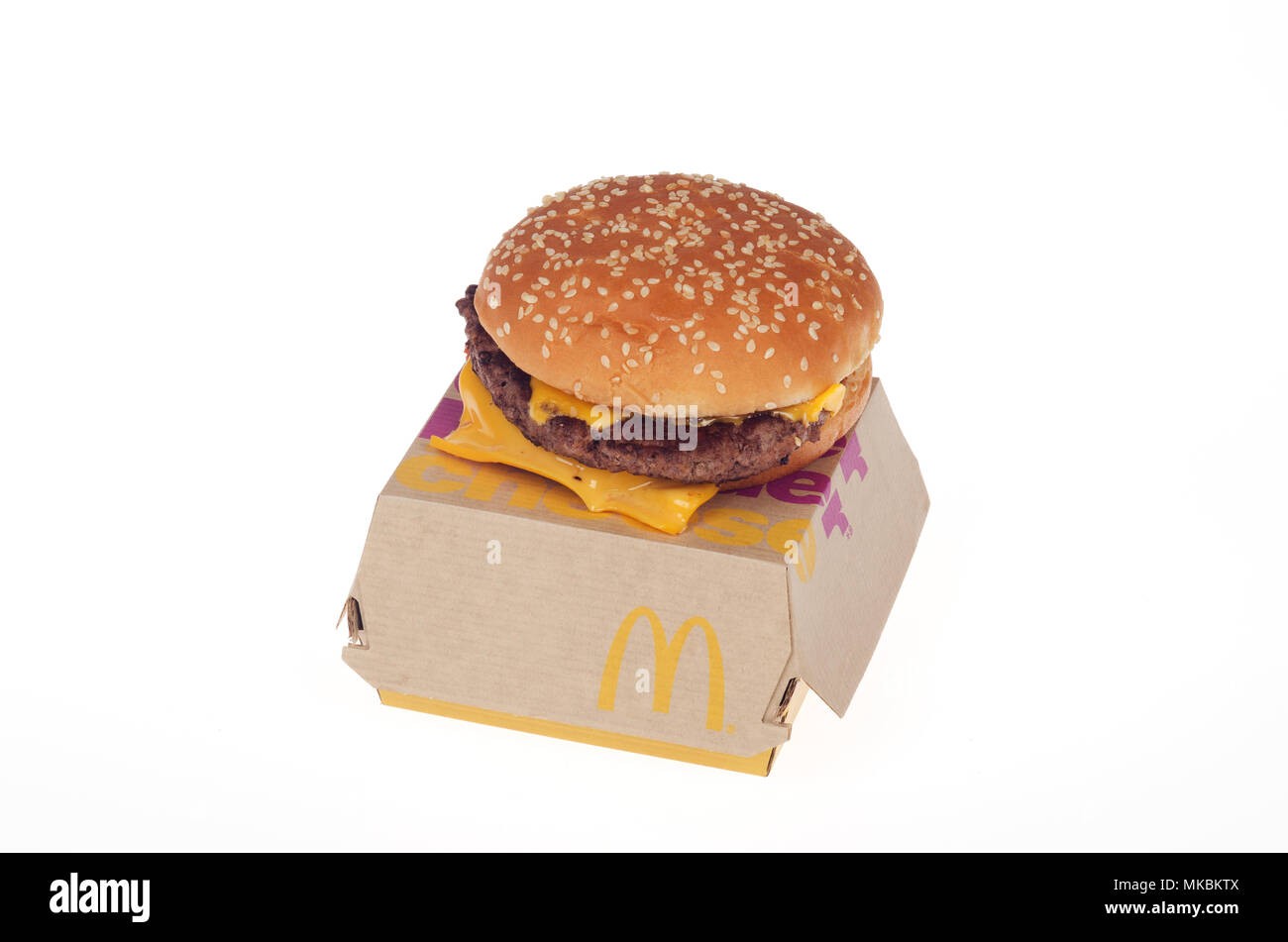 McDonald's new fresh beef cooked when ordered quater pounder with cheese. The never frozen burger just rolled out nationally in USA in May 2018. - Stock Image
