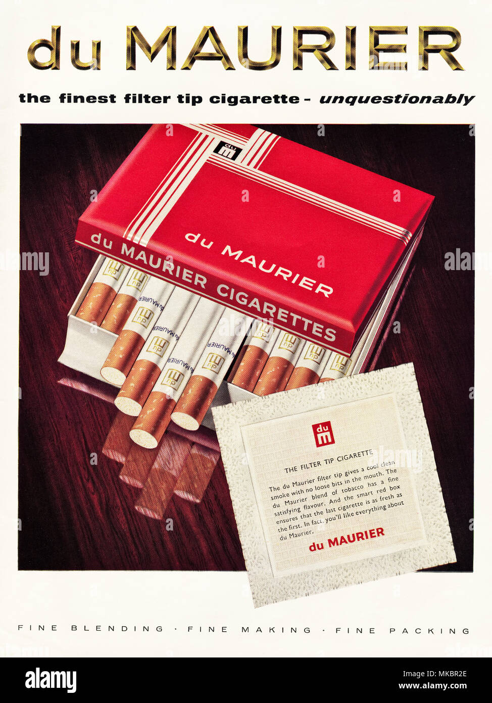 1950s vintage original advertisement advertising du Maurier filter tip cigarettes in English magazine circa 1958 - Stock Image