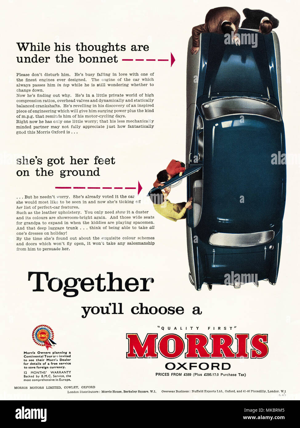 1950s vintage original advertisement advertising new Morris Oxford car of Cowley Oxford England UK in English magazine circa 1958 - Stock Image
