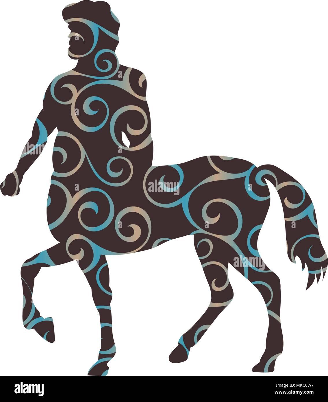Centaur pattern silhouette ancient mythology fantasy - Stock Vector