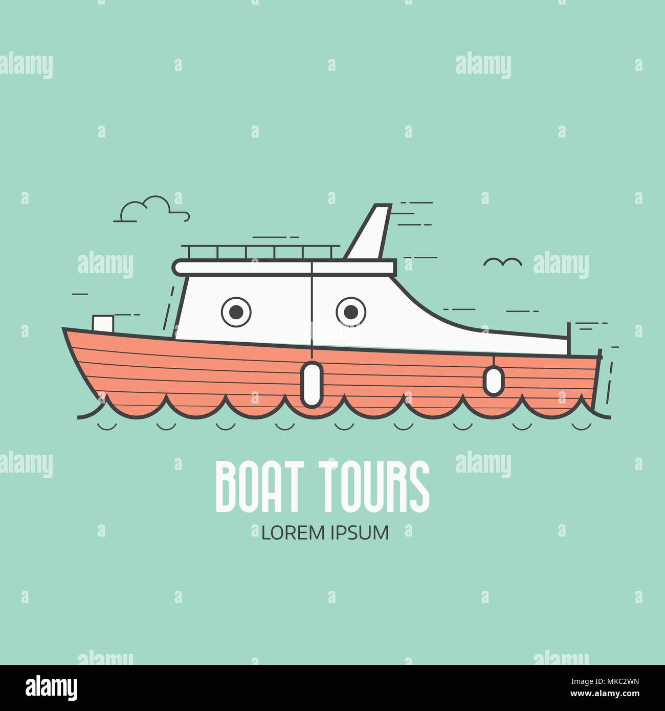 Boat Tours Logo Template - Stock Vector