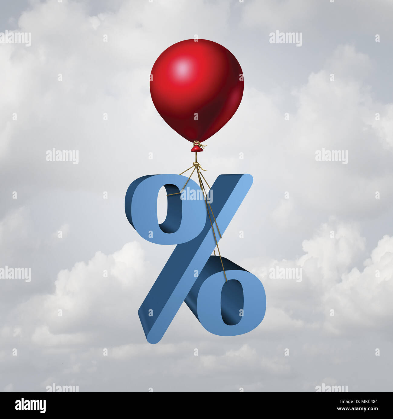 Rising interest rates finance and inflation economic concept as a percentage icon lifted up by a flying balloon with 3D illustration elements. - Stock Image
