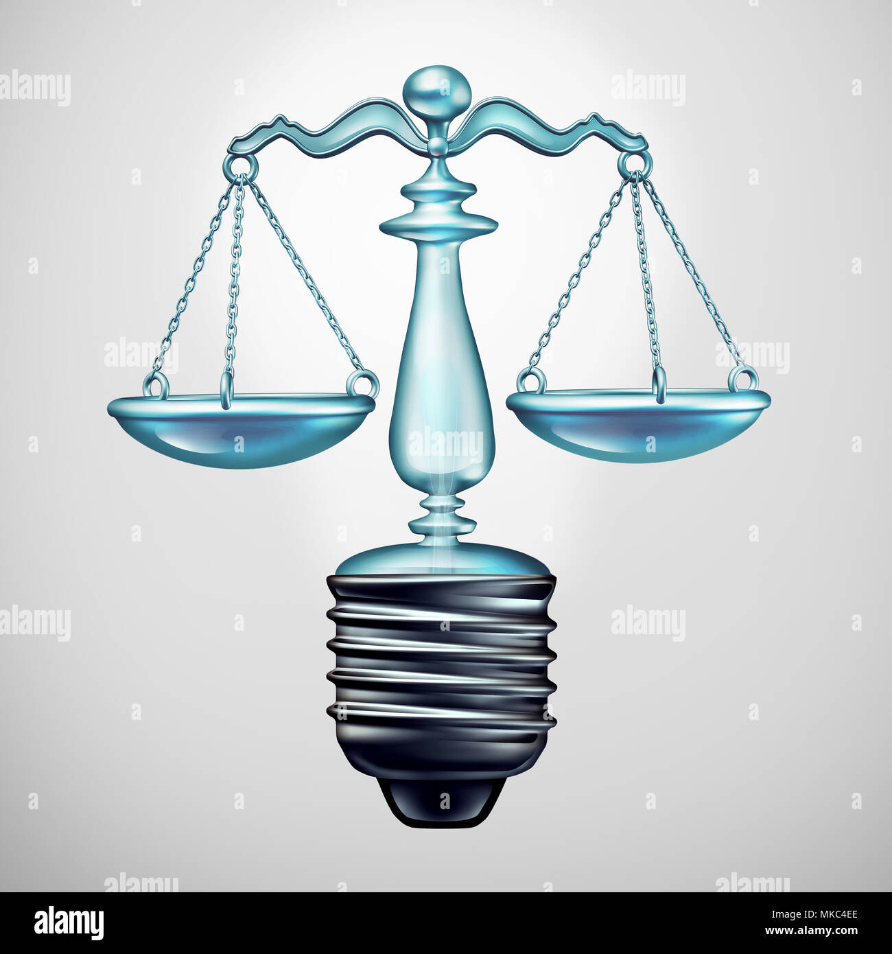Law solution and legal ideas concept and judgement symbol as a light bulb justice scale as a metaphor for new legislation and lawyer ideas. - Stock Image