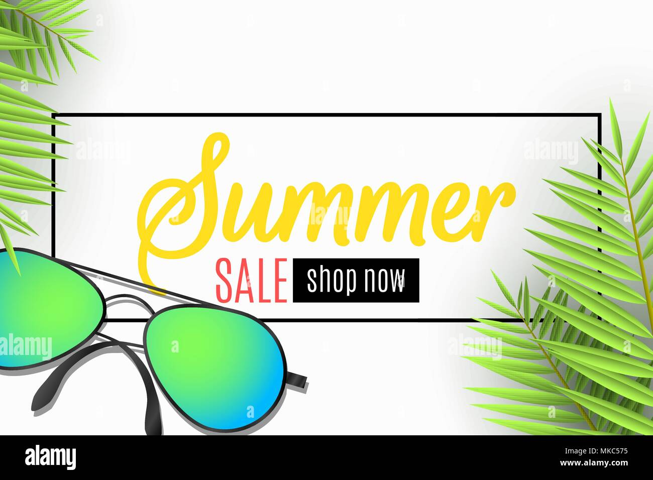 6db6c229afaa Advertising web banner for the Summer Sale. Sunglasses and palm leaves on a  white background