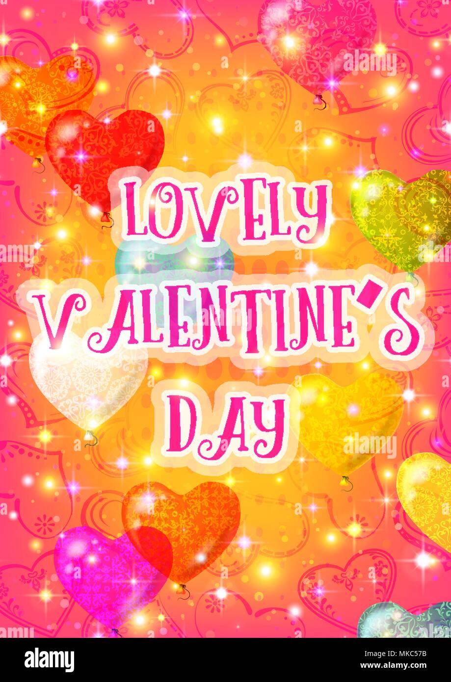 Valentine Background with Heart Balloons Stock Vector