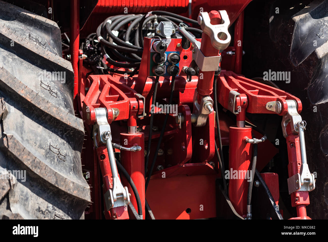 Attachment unit on modern tractor - Stock Image