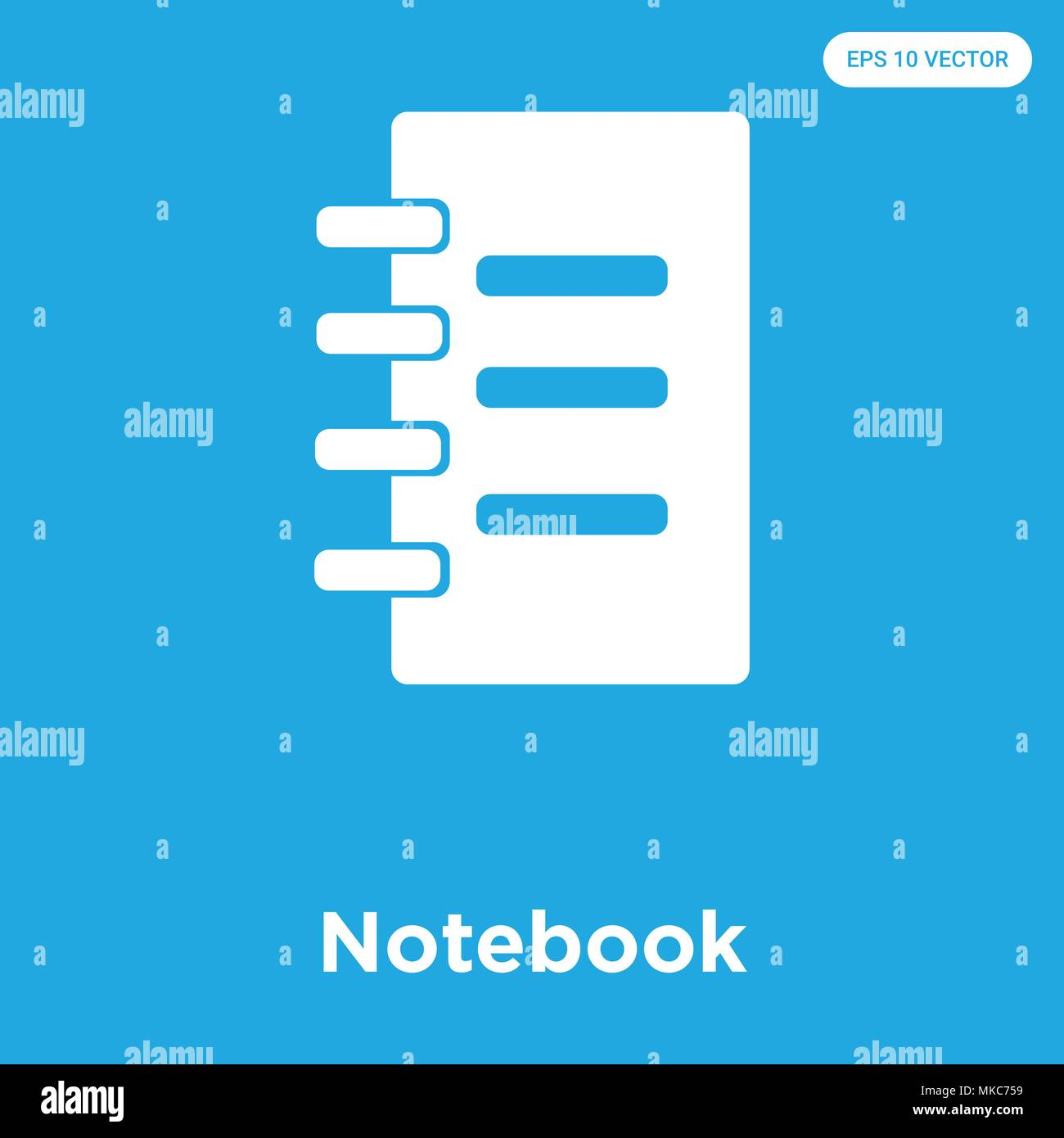 Notebook vector icon isolated on blue background, sign and