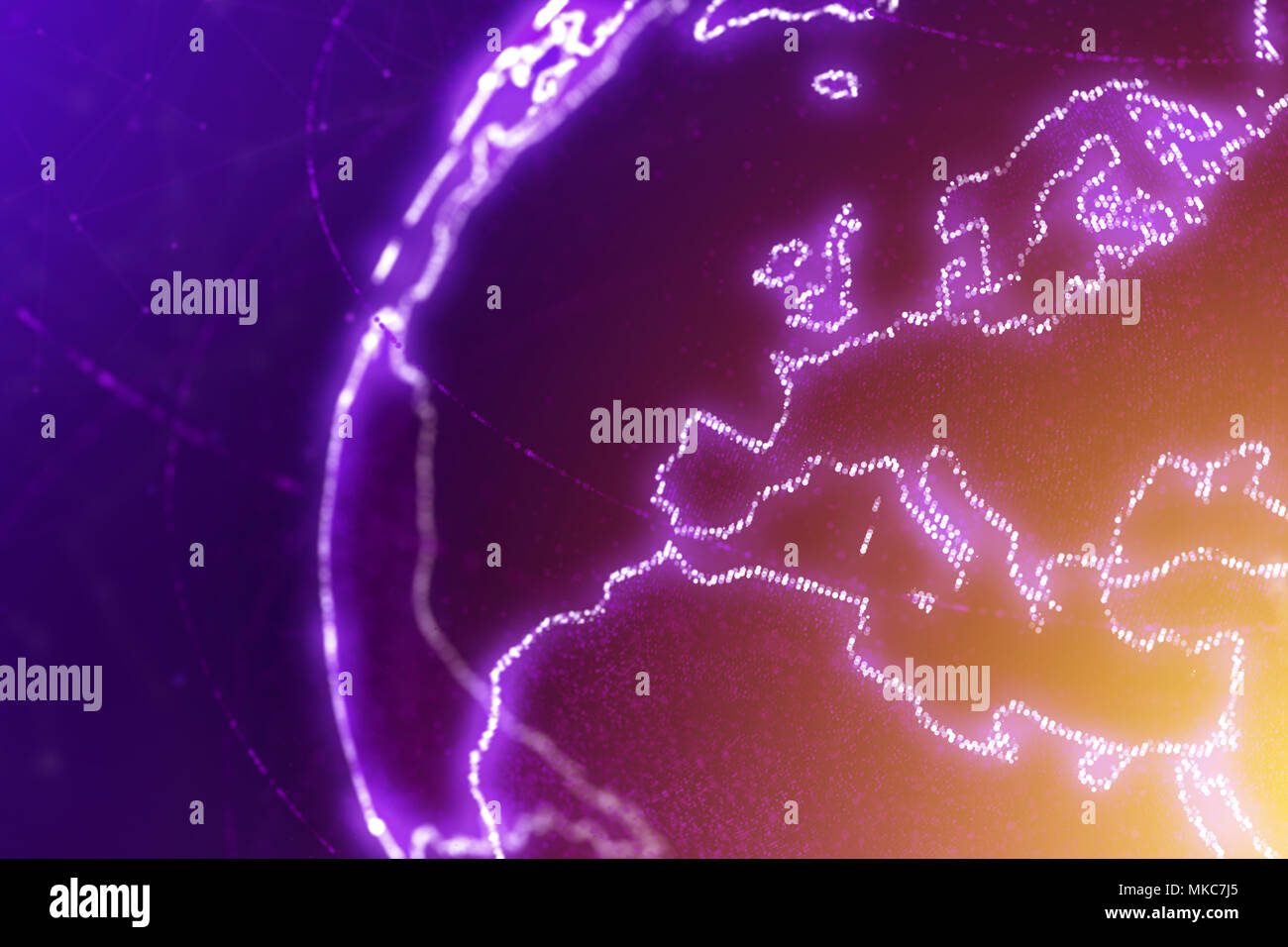 Europe continent,section of the world map, abstract illustration - Stock Image