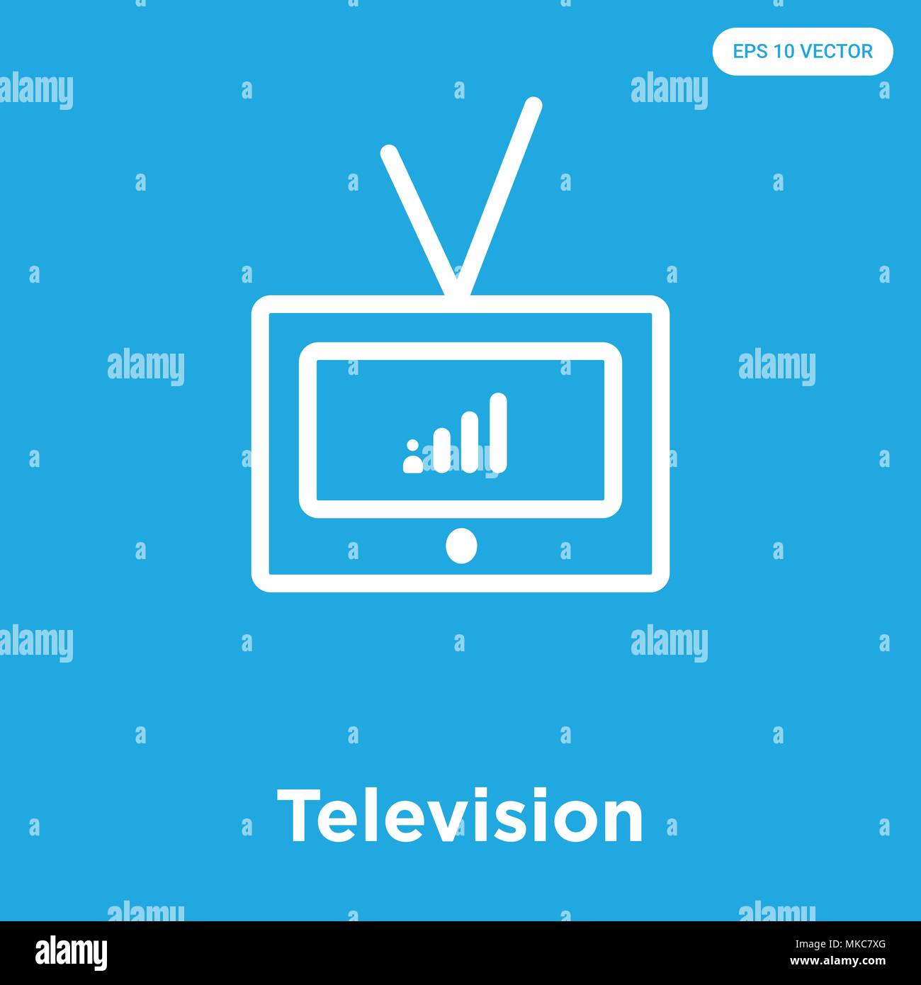 Television vector icon isolated on blue background, sign and symbol - Stock Image