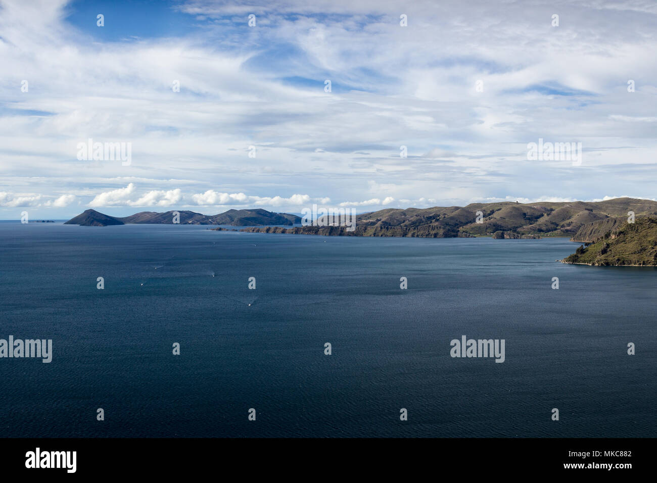 View of Lake Titicaca looking north towards Isla del Sol from Cerro Calvario, Copacabana, Bolivia Stock Photo