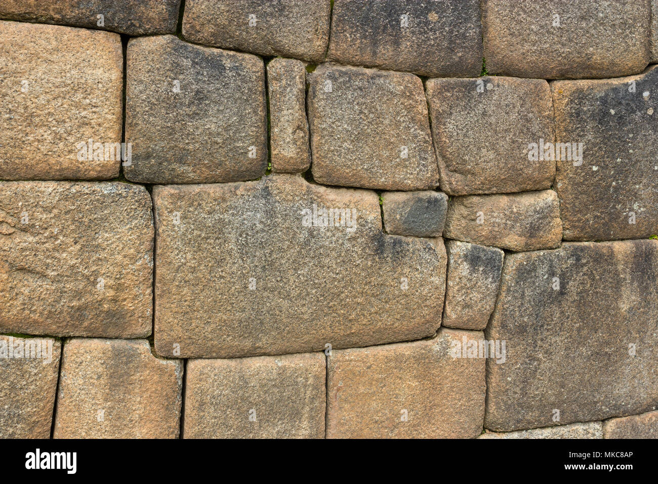 Close-up Detail of Inca Ashlar Wall Precise Stone Block Jointing, Machu Picchu, Peru - Stock Image