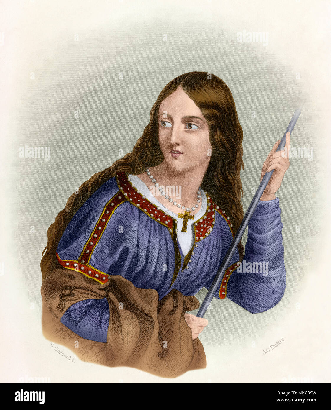 Adela, Countess of Blois (Saint Adela), daughter of William the Conqueror and mother of King Stephen. Digitally colored engraving - Stock Image
