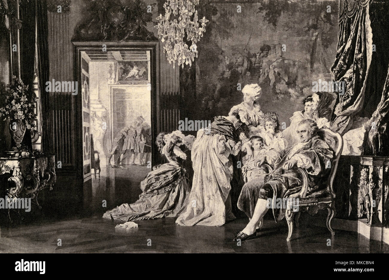 Louis XVI and his family at Versailles, awaiting the mob, French Revolution. Photogravre reproduction of a painting - Stock Image