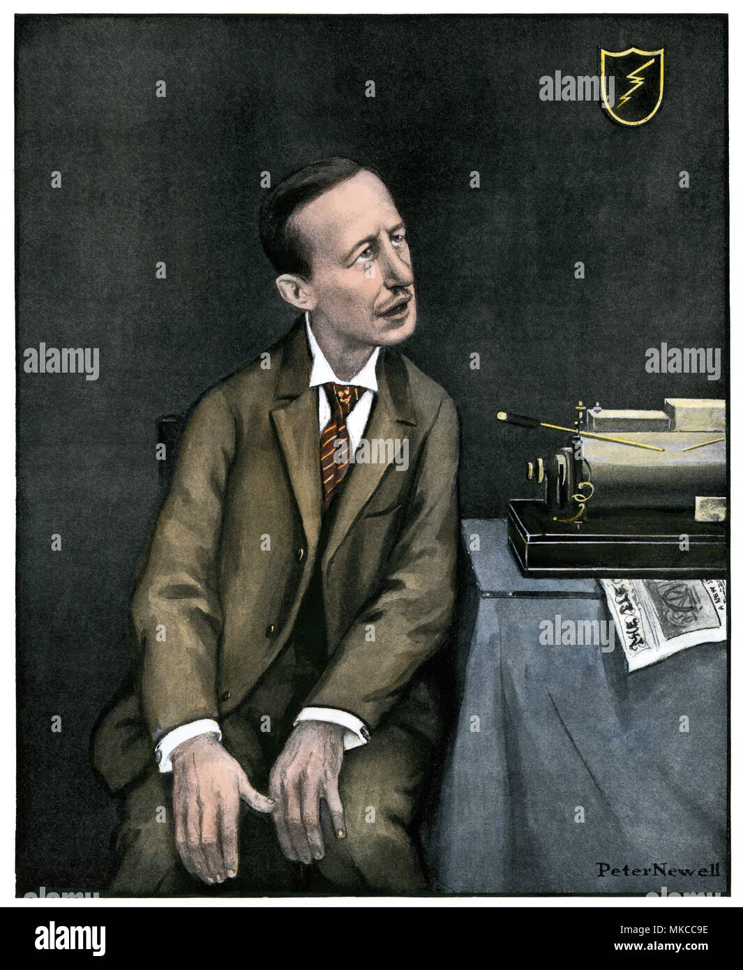 Caricature of Marconi with his wireless, 1903. Hand-colored halftone of an illustration on the cover of Harper's Weekly - Stock Image