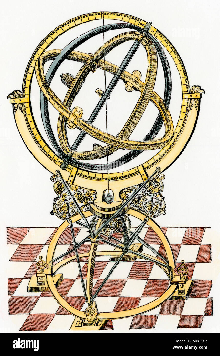 Tycho Brahe's equatorial rings, from 'Astronomiae Instauratae Mechanica.' Hand-colored woodcut of an illustration - Stock Image