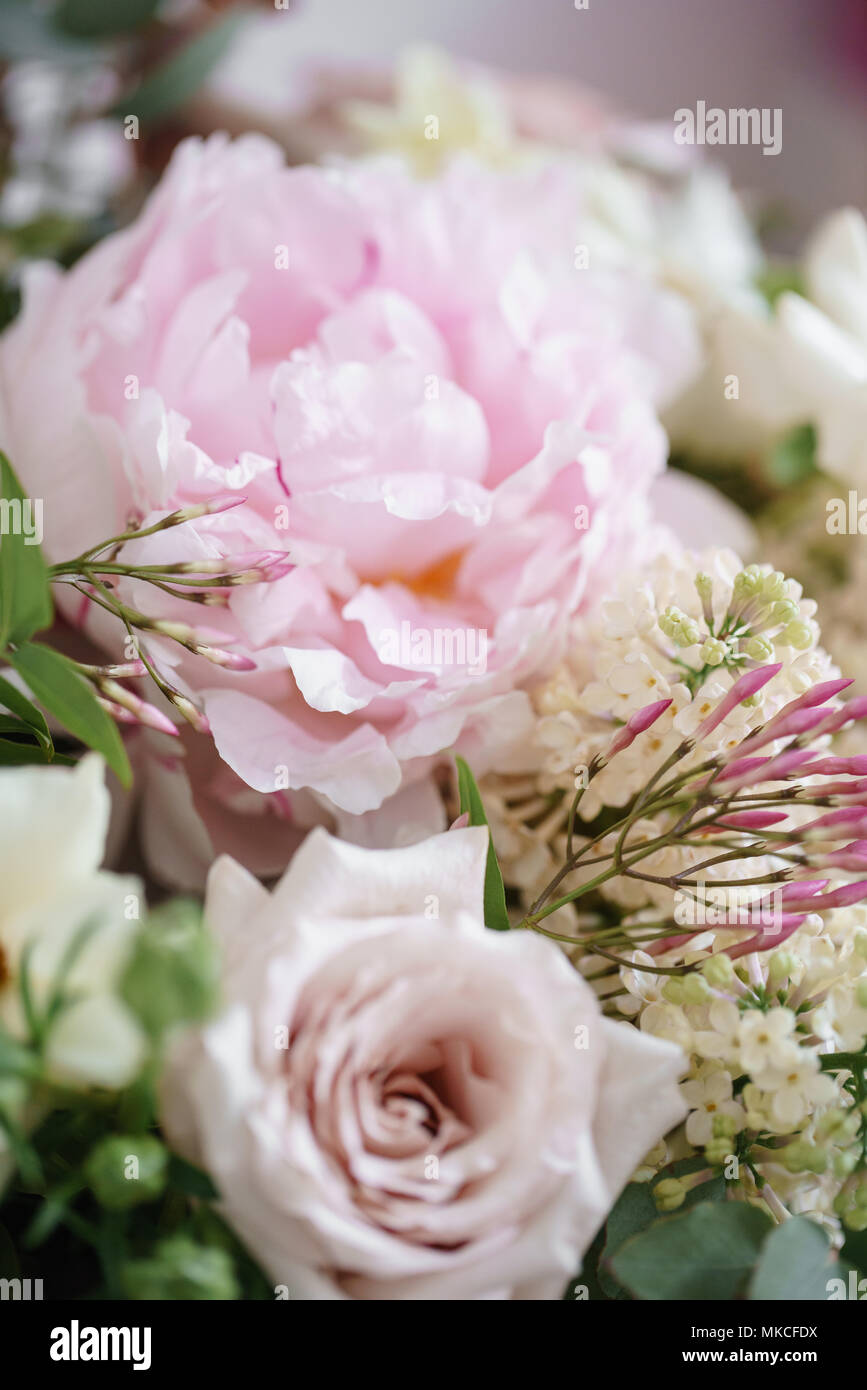 Wedding Bouquet Of White Lilac Roses Peony And Buttercup On A
