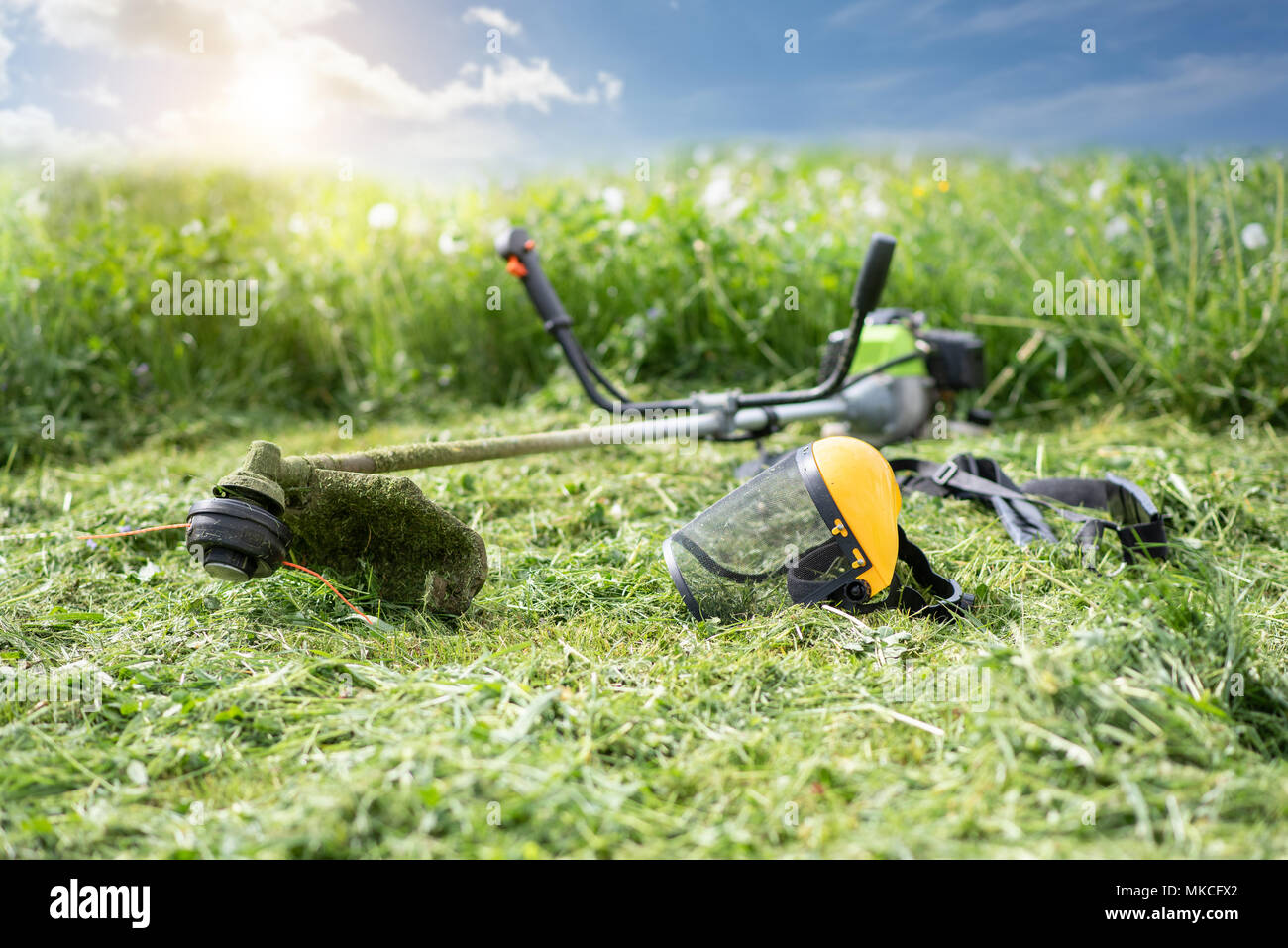 String trimmer and protective face mask on mown grass, growing grass and the blue sky on the background, sunlight - Stock Image