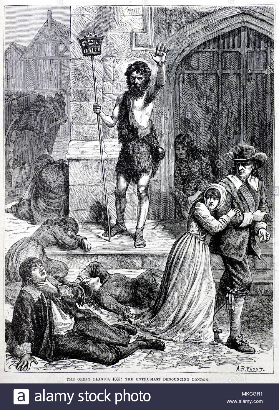 The Great Plague of London 1665, the Enthusiast denouncing London, antique  illustration from circa 1880