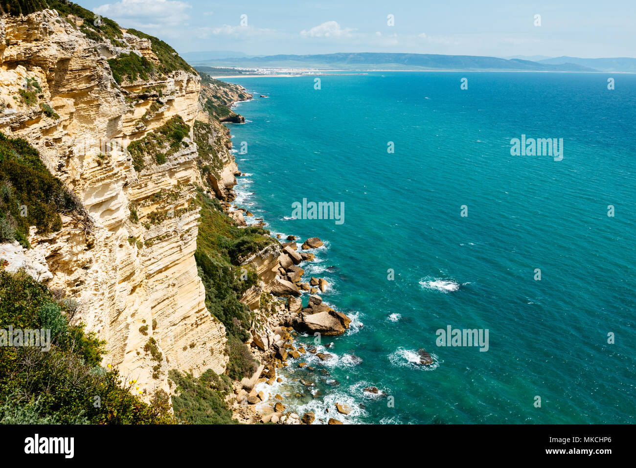High angled view of cliffs and the sea in the south of Spain - Stock Image