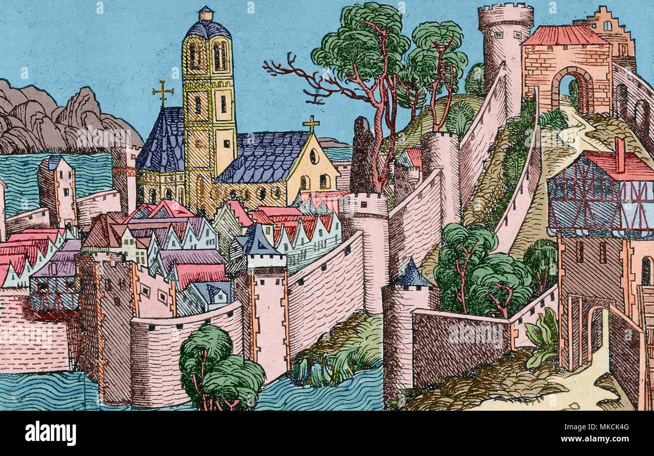 Alexandria, Egypt. Engraving from Nuremberg Chronicle by Hartmann Schedel, 1493. Later colouration. - Stock Image