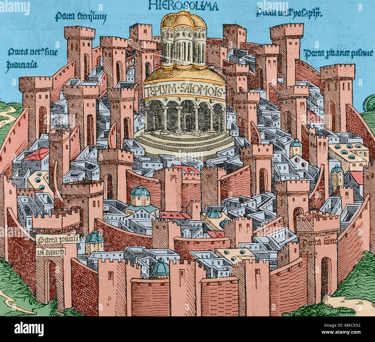 Jerusalem. Imaginary depiction of the town, with the Temple of Solomon in the center. Engraving from Nuremberg Chronicle by Hartmann Schedel, 1493. Later colouration. - Stock Image