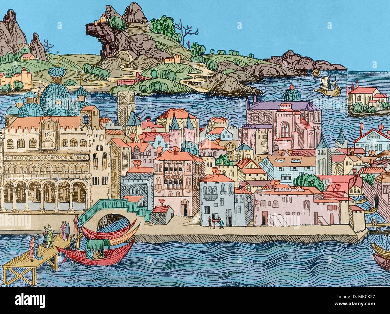 Venice, Italy. Engraving, detail. Nuremberg Chronicle by Hartmann Schedel, 1493. Later colouration. - Stock Image