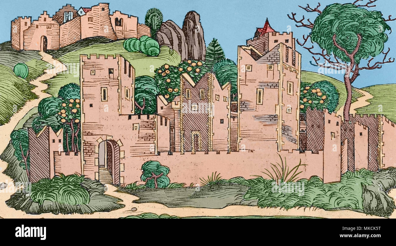 Jericho, Palestine. Engraving from Nuremberg Chronicle by Hartmann Schedel, 1493. Later colouration. - Stock Image