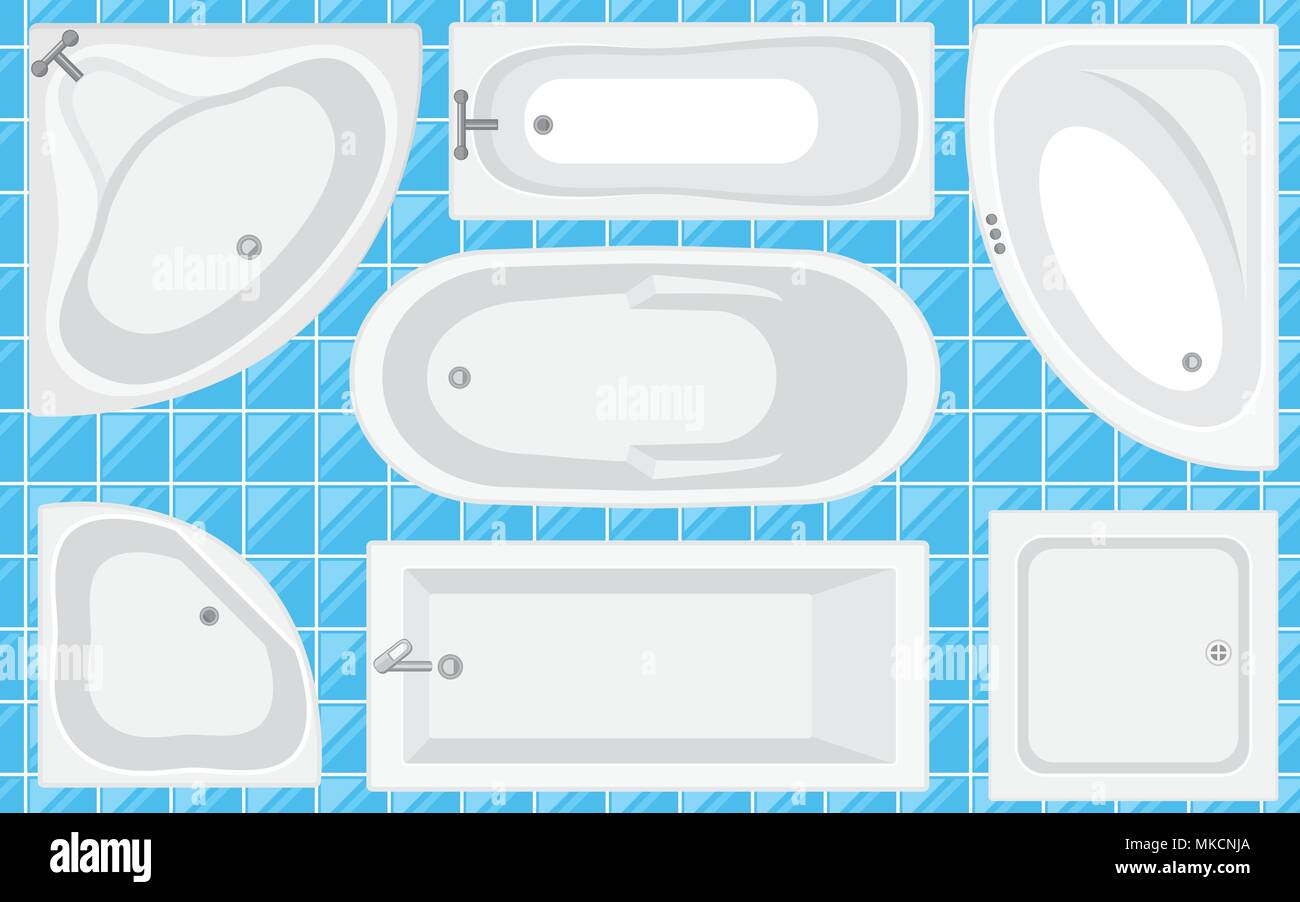 Bathtub top view collection.Vector illustration in flat style. Set ...