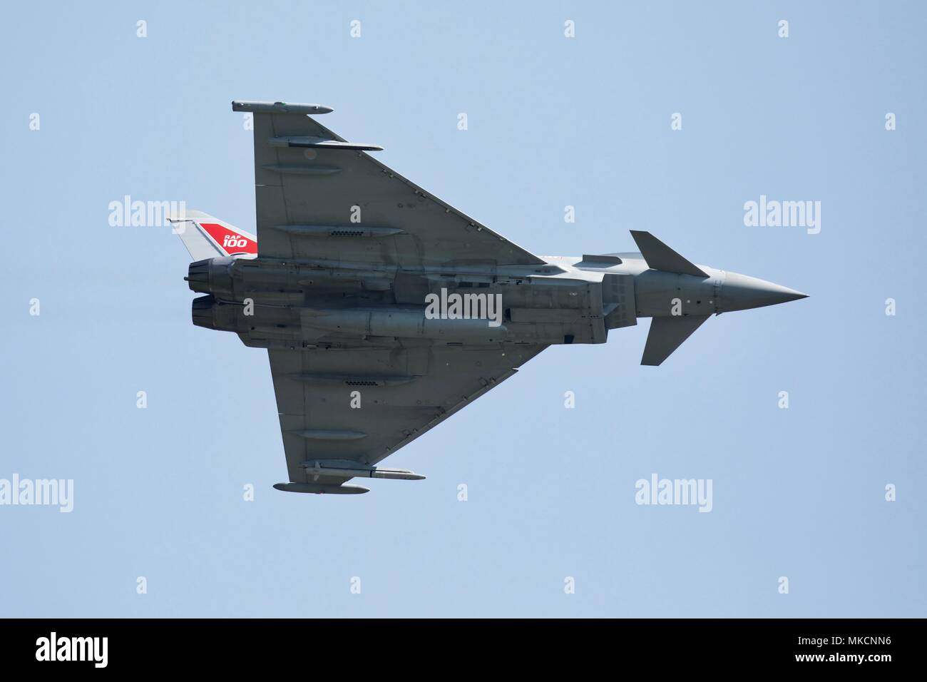 RAF Typhoon FGR4 fighter jet flying at Shuttleworth Season Premiere celebrating the Centenary of the Royal Air Force - Stock Image