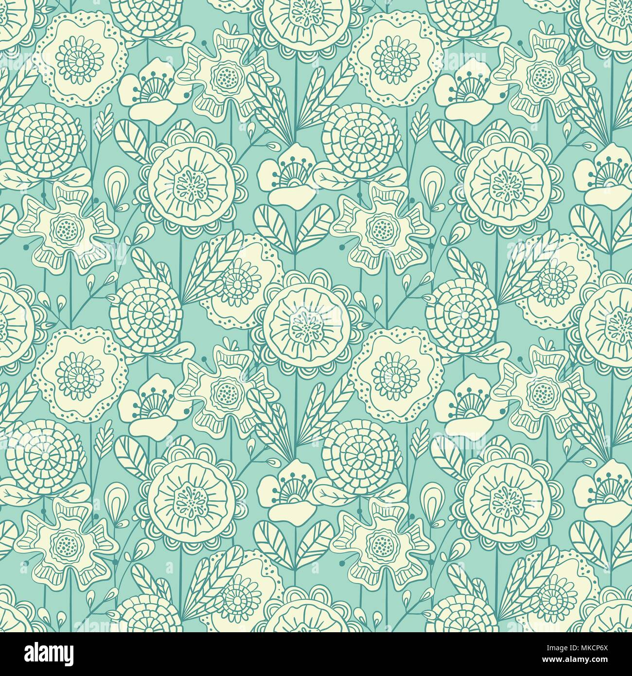 Vector Seamless Colorful Floral Background Hand Drawn Doodle