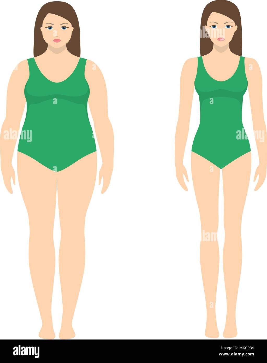 Vector Illustration Of A Woman Before And After Weight Loss Female