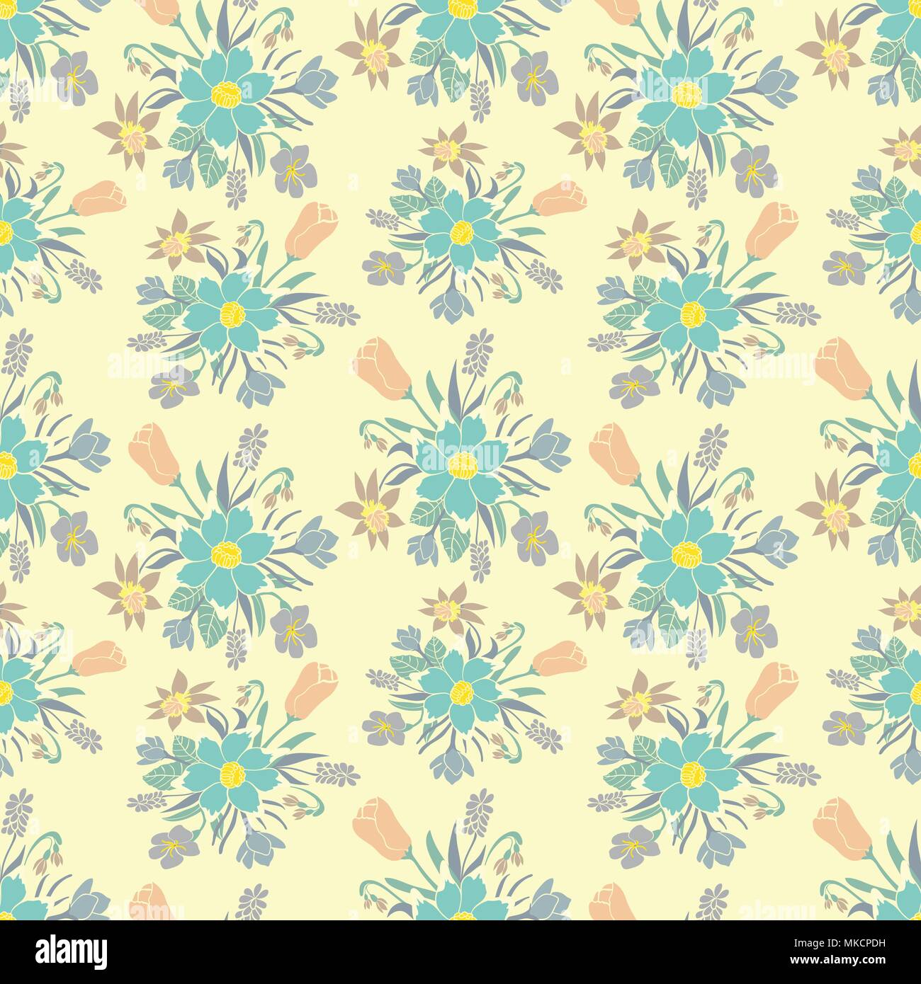 Seamless Colorful Background With Spring Flowers Floral Pattern For