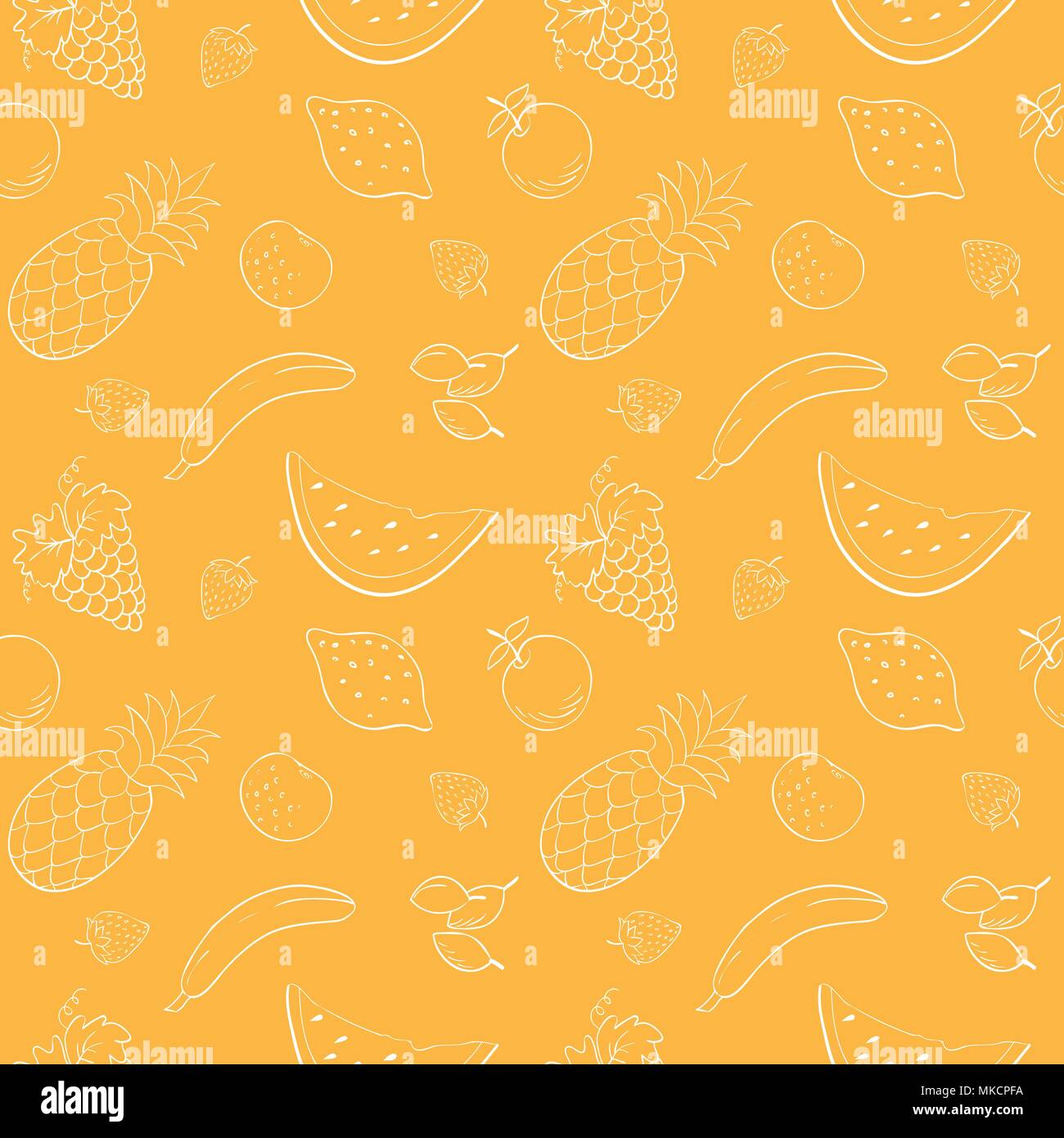 Seamless vector pattern with fruits and berries.Vector fruits pattern. Fruits seamless background. Repeating vector background with fruits. Fruits con - Stock Vector