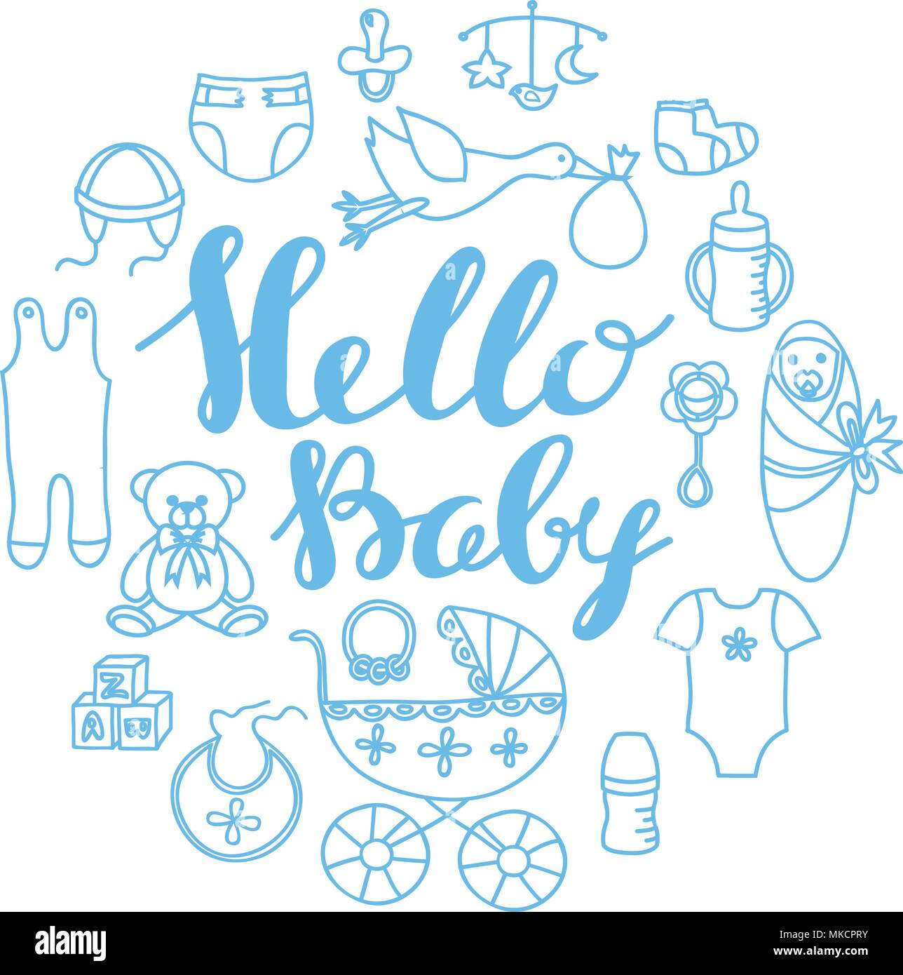 Baby shower celebration greeting and invitation card template with baby shower celebration greeting and invitation card template with hand lettering hello baby and contour baby design elements m4hsunfo