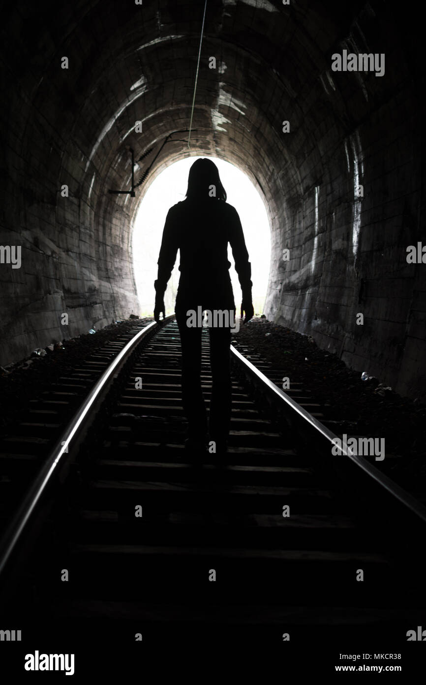 Exit from darknes - Light at end of tunnel - Stock Image
