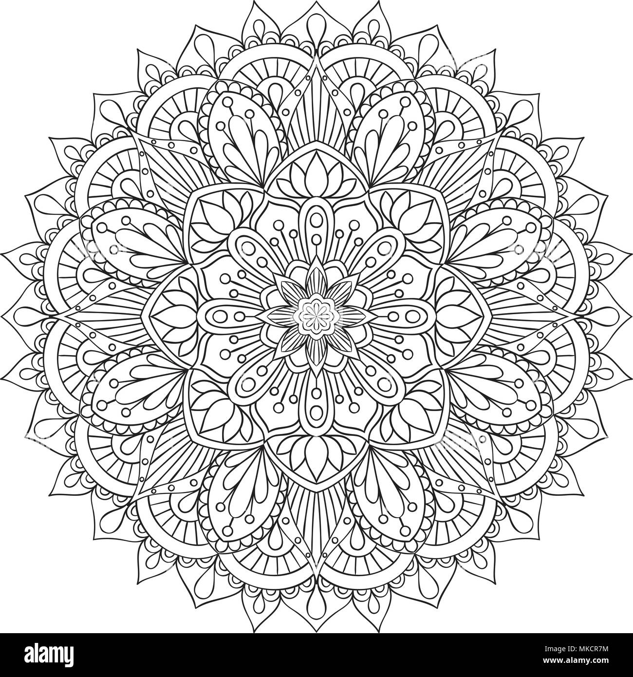 Oriental decorative element for adult coloring book. Ethnic ...